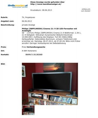 Philips (58PFL9955H) Cinema 21:9 3D LED-Fernseher mit Ambilight